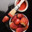 Stock Photo: Strawberies & Brush and paint samples