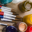 Paints and brushes — Stock Photo