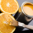 Lemon & Brush and paint samples — Stock Photo