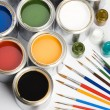 Stock Photo: Paint and brushes