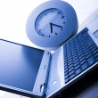 Laptop & Clock — Stock Photo