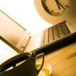 Laptop & Coffee cup & Clock — Stock Photo