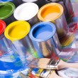 Cans and paint and brushes — Foto de Stock