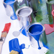 Stock Photo: Cans and paint and brushes