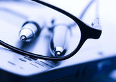 Laptop & Glasses & Ballpoint — Stock Photo