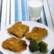 Soya cutlets & Broccoli & Milk — Stock Photo