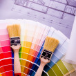 Color samples & Architecture plan — Stock Photo #30729395