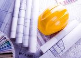 Architecture planning of interiors designe on paper — Stock Photo