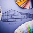 Foto de Stock  : Color's sample & house plan