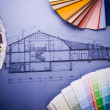 Foto Stock: Color's sample & house plan