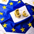 Stock Photo: Euro sign on flag