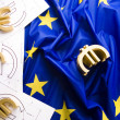 Euro sign on the flag — Stock Photo
