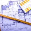 Architecture planning of interiors designe on paper — Stock Photo