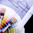 Color samples & Architecture plan — Stock Photo