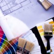 Stock Photo: Color samples & Architecture plan
