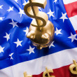 U.S.A flag & Dollar signs & Piggy bank — Stock Photo