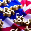 U.S.A flag & Dollar signs — Stock Photo