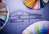 Color's sample & house plan — Stock Photo