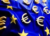 Flag of European Union with euro sign — Stock Photo