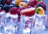 Sweet fruits & ice cubes — Stock Photo