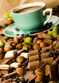 Chocolate & Coffee & Nuts — Stock Photo