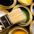 Paints and brush — Stock Photo