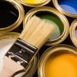 Stock Photo: Paints and brush