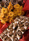 Chocolate & Roses — Stock Photo