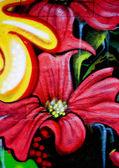 Flower graffiti — Stock Photo