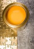 Malování na puzzle — Stock fotografie