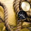 Stock Photo: Compass with rope