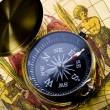 Old style compass and map — Photo