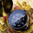 Old style compass and map — Stock Photo
