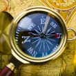 Magnifying glass & Compass — Stock Photo