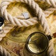 Stock Photo: Magnifying glass & Compass
