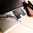 Laptop & Ballpoint & Glasses — Stockfoto