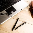 Laptop & Ballpoint & Glasses — Stock Photo #30777943