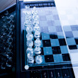 Glass chess with laptop — Foto de Stock