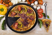 Pizza on plate — Stock Photo
