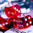 Dices and dealer — Stock Photo