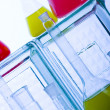 Laboratory flasks with fluids of different colors — Stock Photo #30786661