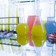 Laboratory flasks with drugs — Stock Photo