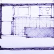 House plan blueprints — Stok fotoğraf