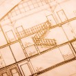 House plan blueprints — Stock Photo