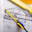 Foto Stock: House blue print close up