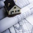 Foto Stock: Close up of a blueprint & House