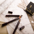 Plans & House — Stock Photo