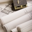 Close up of a blueprint & House — Foto Stock #30799473