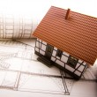Close up of a blueprint & House — Stock Photo