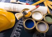 颜色样本及建筑计划 — 图库照片